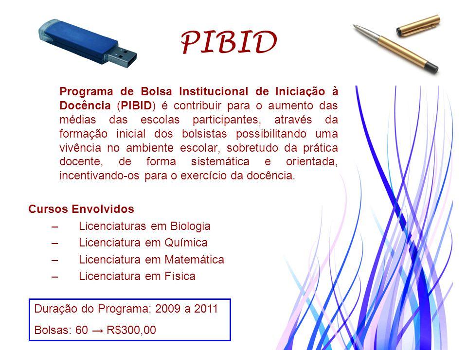 PIBID Programa de Bolsa Institucional de Iniciação à Docência (PIBID) é contribuir para o aumento das médias das escolas participantes, através da for