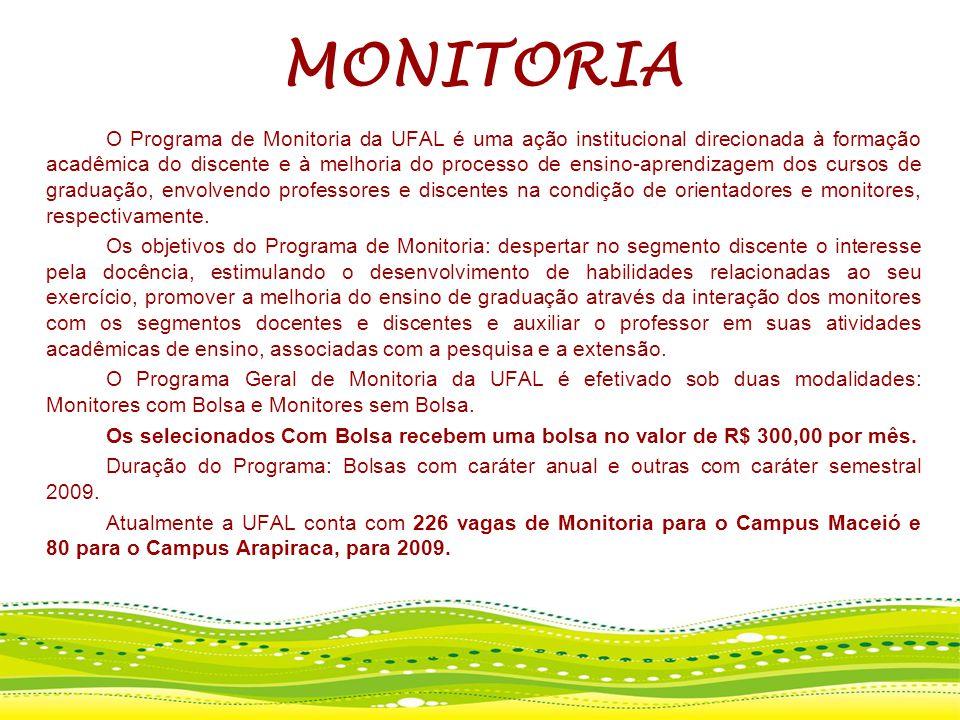 MONITORIA O Programa de Monitoria da UFAL é uma ação institucional direcionada à formação acadêmica do discente e à melhoria do processo de ensino-apr