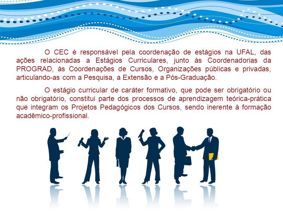O CEC é responsável pela coordenação de estágios na UFAL, das ações relacionadas a Estágios Curriculares, junto às Coordenadorias da PROGRAD, às Coord