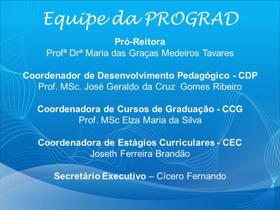 Pró-Reitora Profª Drª Maria das Graças Medeiros Tavares Coordenador de Desenvolvimento Pedagógico - CDP Prof. MSc. José Geraldo da Cruz Gomes Ribeiro