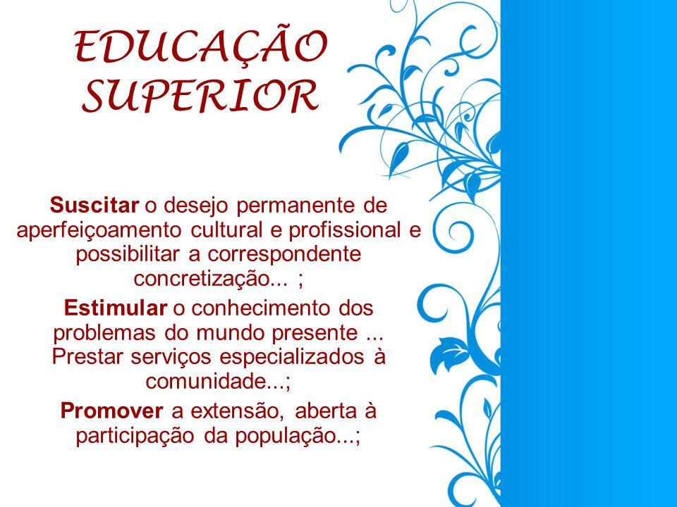 Suscitar o desejo permanente de aperfeiçoamento cultural e profissional e possibilitar a correspondente concretização...