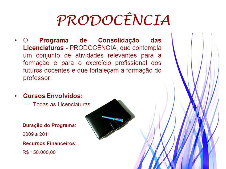PRODOCÊNCIA O Programa de Consolidação das Licenciaturas - PRODOCÊNCIA, que contempla um conjunto de atividades relevantes para a formação e para o ex