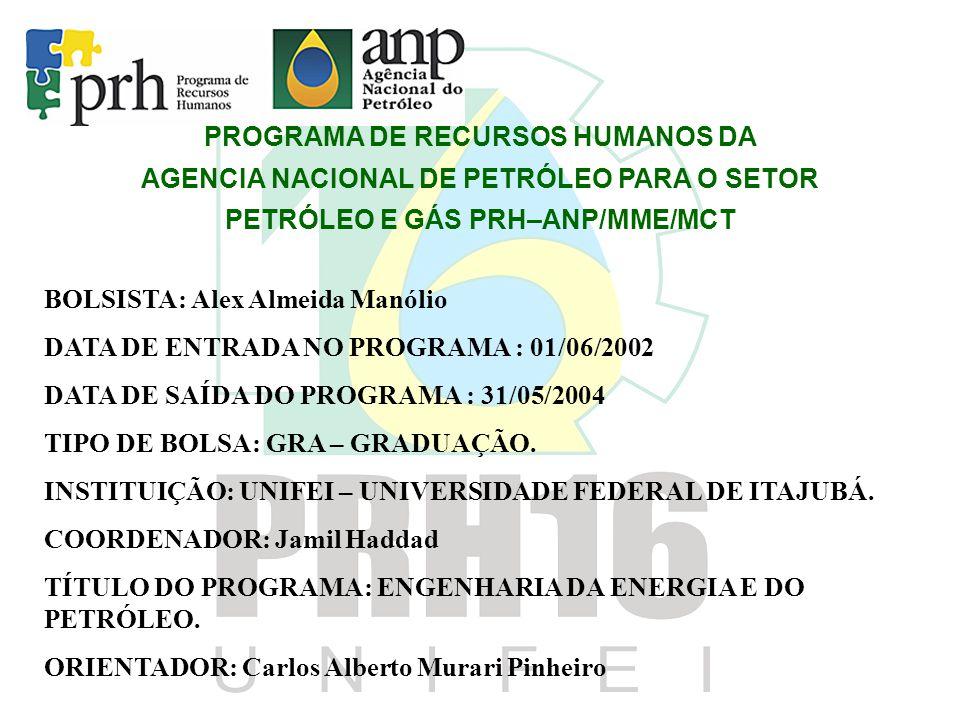 PROGRAMA DE RECURSOS HUMANOS DA AGENCIA NACIONAL DE PETRÓLEO PARA O SETOR PETRÓLEO E GÁS PRH–ANP/MME/MCT BOLSISTA: Alex Almeida Manólio DATA DE ENTRADA NO PROGRAMA : 01/06/2002 DATA DE SAÍDA DO PROGRAMA : 31/05/2004 TIPO DE BOLSA: GRA – GRADUAÇÃO.