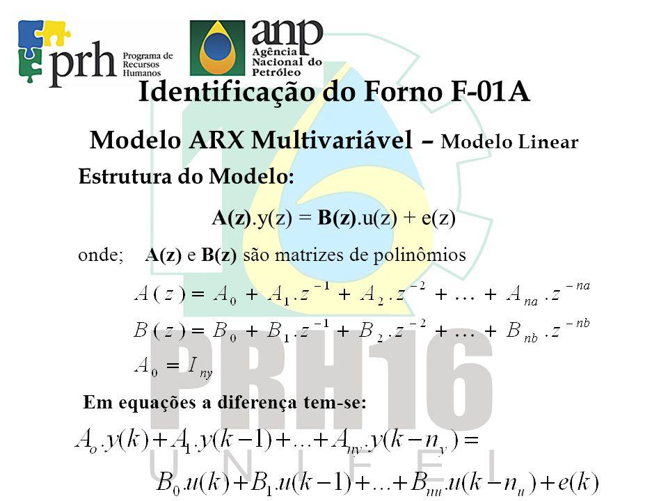 Identificação do Forno F-01A Modelo ARX Multivariável – Modelo Linear Estrutura do Modelo: A(z).y(z) = B(z).u(z) + e(z) onde;A(z) e B(z) são matrizes de polinômios Em equações a diferença tem-se: