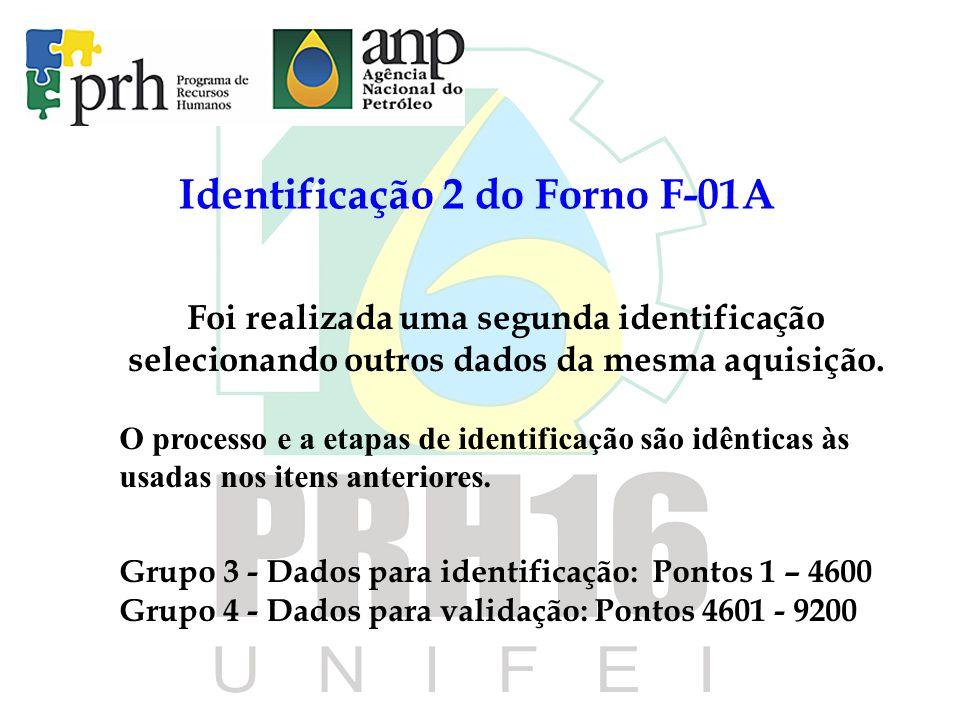 Identificação 2 do Forno F-01A Foi realizada uma segunda identificação selecionando outros dados da mesma aquisição. O processo e a etapas de identifi