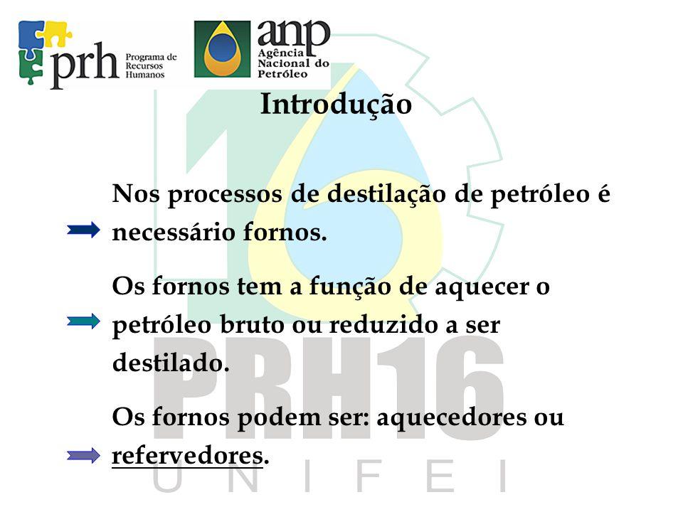 Introdução Nos processos de destilação de petróleo é necessário fornos. Os fornos tem a função de aquecer o petróleo bruto ou reduzido a ser destilado