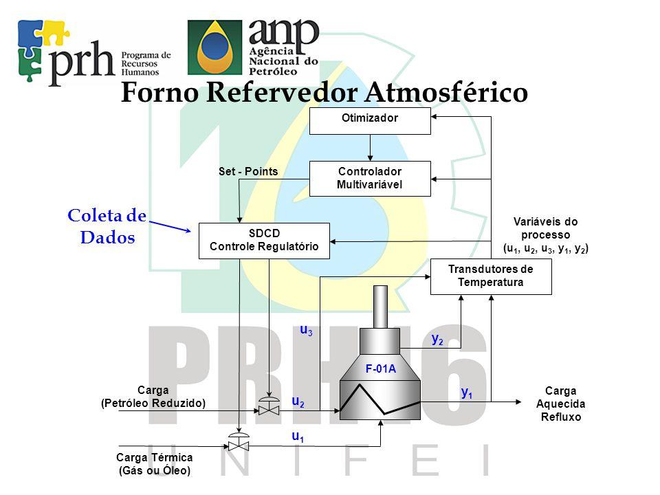 Forno Refervedor Atmosférico u3u3 u1u1 y2y2 u2u2 y1y1 Variáveis do processo (u 1, u 2, u 3, y 1, y 2 ) Carga Térmica (Gás ou Óleo) SDCD Controle Regul