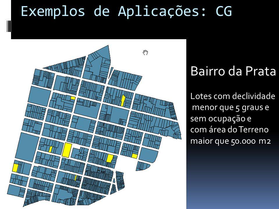 Bairro da Prata Lotes com declividade menor que 5 graus e sem ocupação e com área do Terreno maior que 50.000 m2 Exemplos de Aplicações: CG