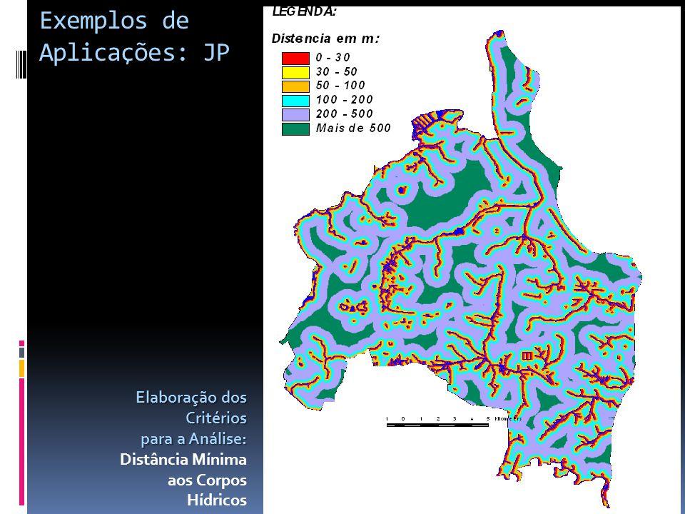 Elaboração dos Critérios para a Análise: Distância Mínima aos Corpos Hídricos Exemplos de Aplicações: JP