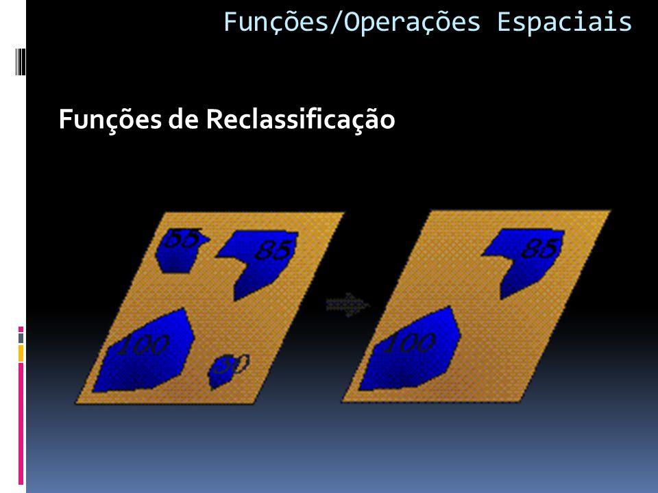 Funções/Operações Espaciais Funções de Reclassificação