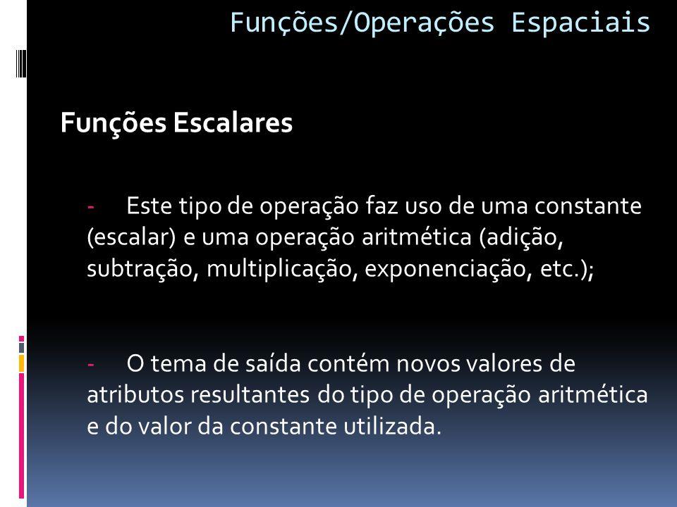 Funções/Operações Espaciais Funções Escalares -Este tipo de operação faz uso de uma constante (escalar) e uma operação aritmética (adição, subtração, multiplicação, exponenciação, etc.); -O tema de saída contém novos valores de atributos resultantes do tipo de operação aritmética e do valor da constante utilizada.