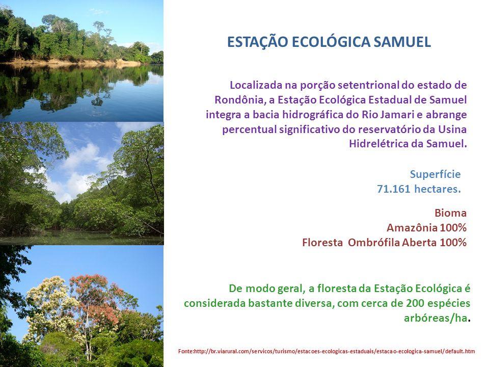 ESTAÇÃO ECOLÓGICA SAMUEL Preservação da natureza e realização de pesquisas científicas. Fonte:http://br.viarural.com/servicos/turismo/estacoes-ecologi