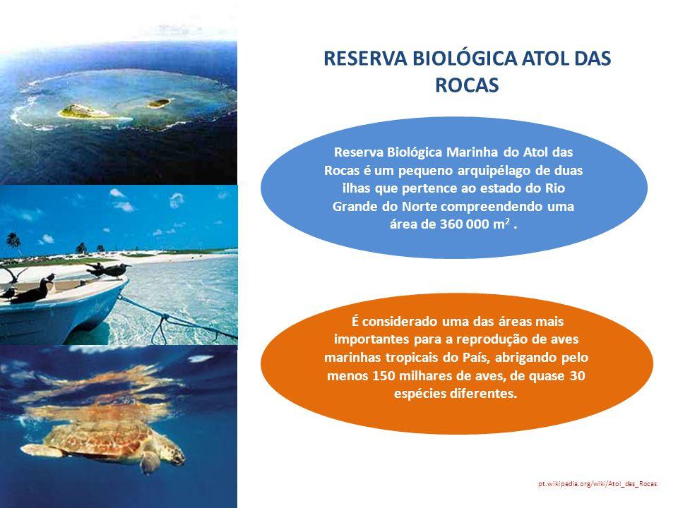 RESERVA BIOLÓGICA ATOL DAS ROCAS Reserva Biológica Marinha do Atol das Rocas é um pequeno arquipélago de duas ilhas que pertence ao estado do Rio Gran