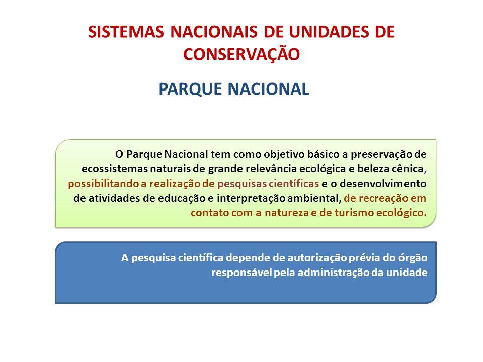 SISTEMAS NACIONAIS DE UNIDADES DE CONSERVAÇÃO PARQUE NACIONAL O Parque Nacional tem como objetivo básico a preservação de ecossistemas naturais de gra