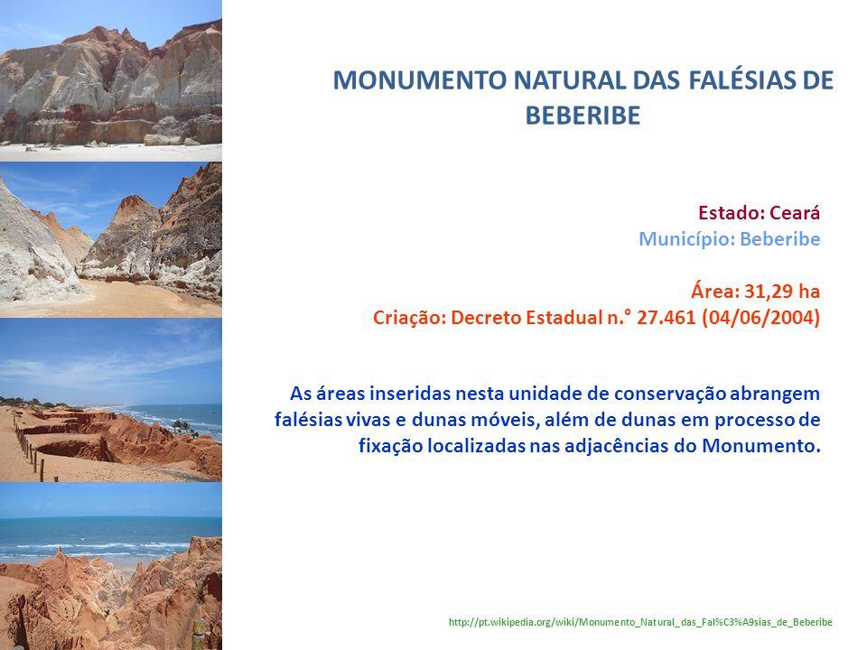 MONUMENTO NATURAL DAS FALÉSIAS DE BEBERIBE Estado: Ceará Município: Beberibe Área: 31,29 ha Criação: Decreto Estadual n.° 27.461 (04/06/2004) As áreas
