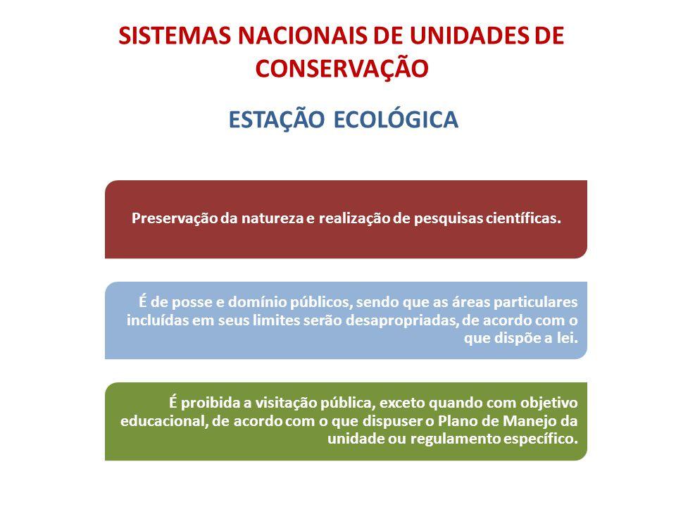 SISTEMAS NACIONAIS DE UNIDADES DE CONSERVAÇÃO ESTAÇÃO ECOLÓGICA É de posse e domínio públicos, sendo que as áreas particulares incluídas em seus limit