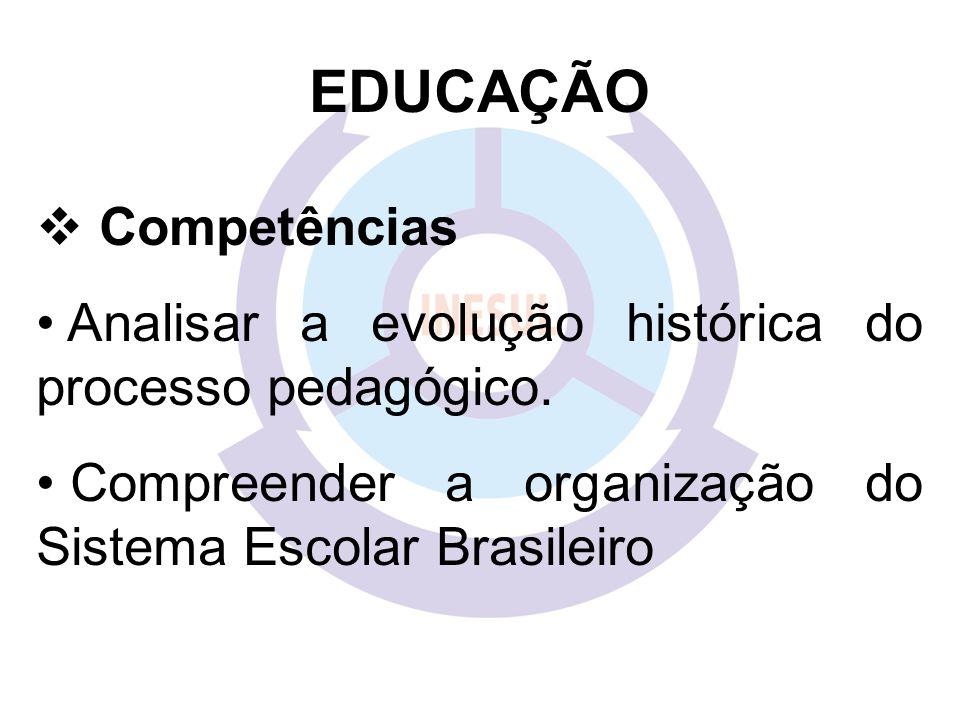 EDUCAÇÃO Competências Analisar a evolução histórica do processo pedagógico. Compreender a organização do Sistema Escolar Brasileiro