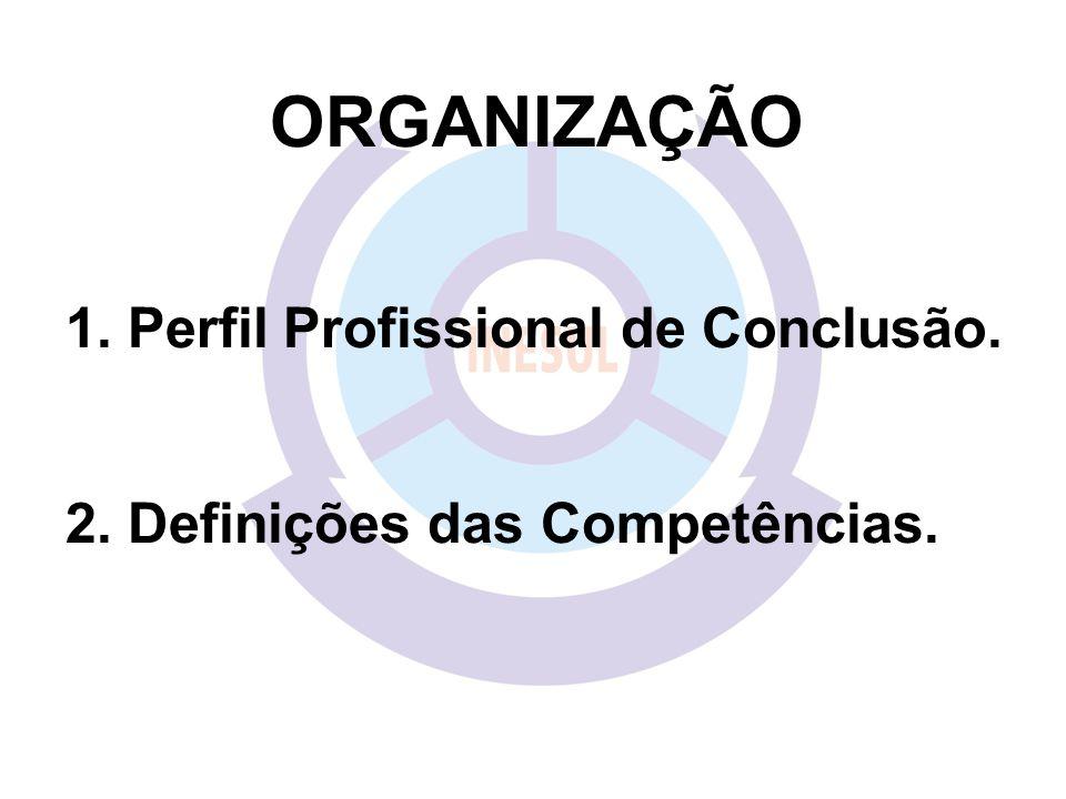 ORGANIZAÇÃO 1. Perfil Profissional de Conclusão. 2. Definições das Competências.