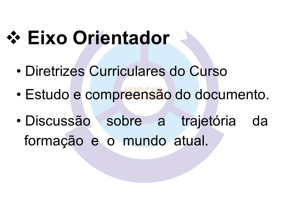 Diretrizes Curriculares do Curso Estudo e compreensão do documento.