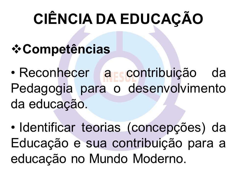 EDUCAÇÃO Competências Analisar a evolução histórica do processo pedagógico.