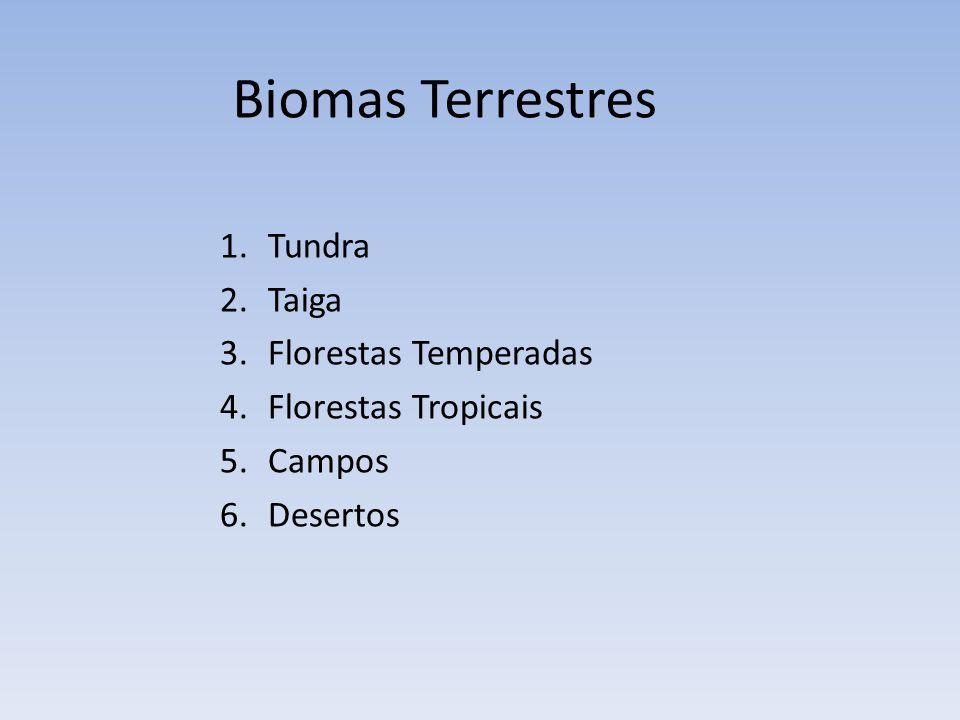 1.Tundra 2.Taiga 3.Florestas Temperadas 4.Florestas Tropicais 5.Campos 6.Desertos Biomas Terrestres