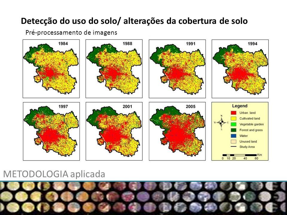 METODOLOGIA aplicada Pré-processamento de imagens Detecção do uso do solo/ alterações da cobertura de solo