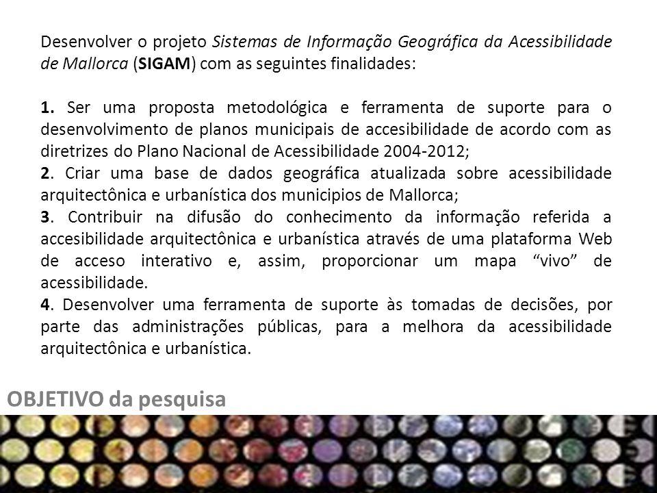 OBJETIVO da pesquisa Desenvolver o projeto Sistemas de Informação Geográfica da Acessibilidade de Mallorca (SIGAM) com as seguintes finalidades: 1. Se