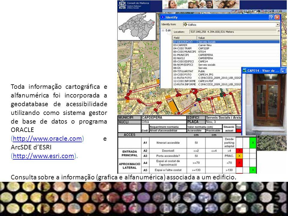 Consulta sobre a informação (grafica e alfanumérica) associada a um edificio. Toda informação cartográfica e alfanumérica foi incorporada a geodatabas