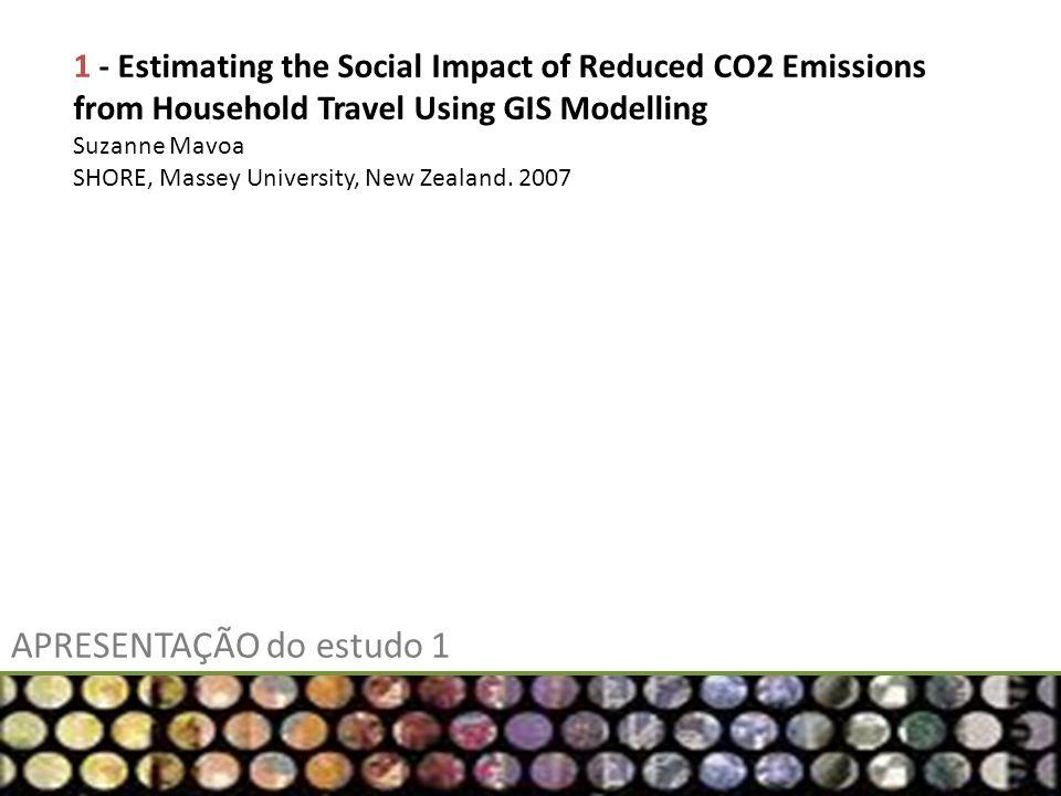 APRESENTAÇÃO do estudo 1 1 - Estimating the Social Impact of Reduced CO2 Emissions from Household Travel Using GIS Modelling Suzanne Mavoa SHORE, Mass