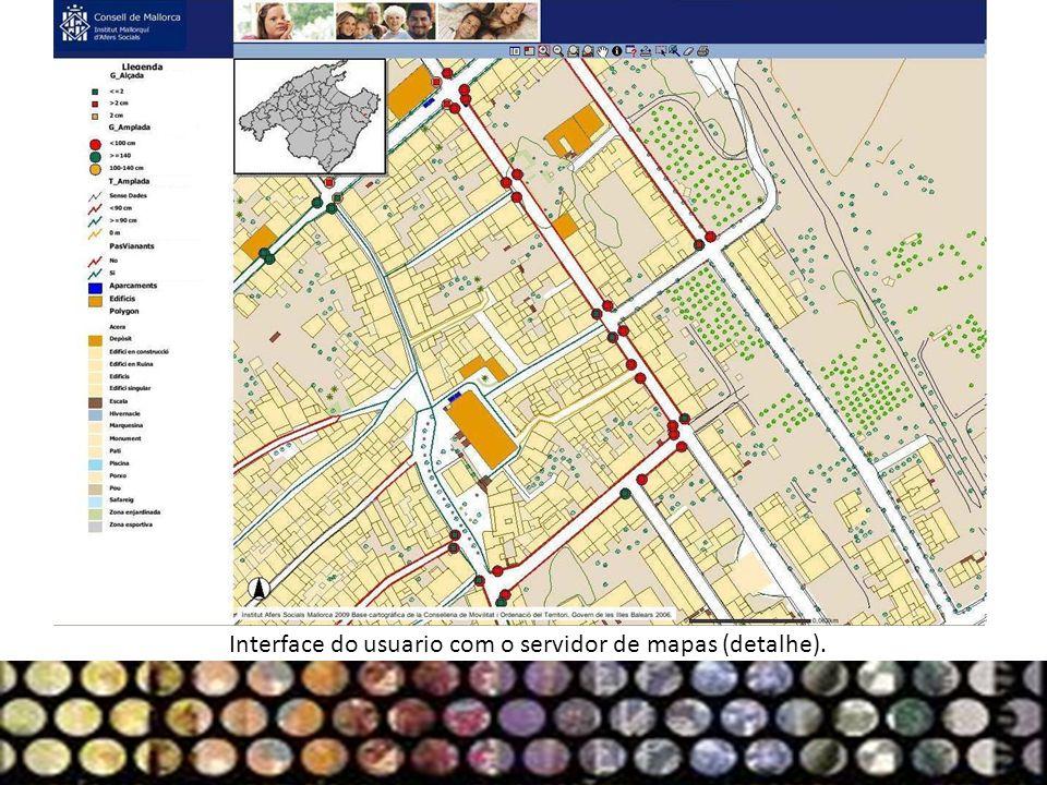 Interface do usuario com o servidor de mapas (detalhe).