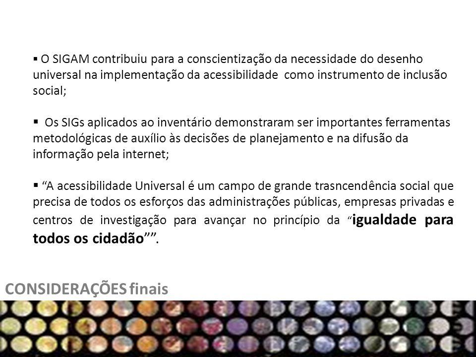 CONSIDERAÇÕES finais O SIGAM contribuiu para a conscientização da necessidade do desenho universal na implementação da acessibilidade como instrumento