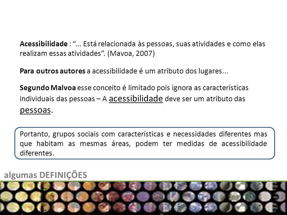 algumas DEFINIÇÕES Acessibilidade :... Está relacionada às pessoas, suas atividades e como elas realizam essas atividades. (Mavoa, 2007) Para outros a