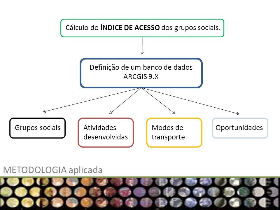 METODOLOGIA aplicada Cálculo do ÍNDICE DE ACESSO dos grupos sociais. Definição de um banco de dados ARCGIS 9.X Grupos sociaisAtividades desenvolvidas