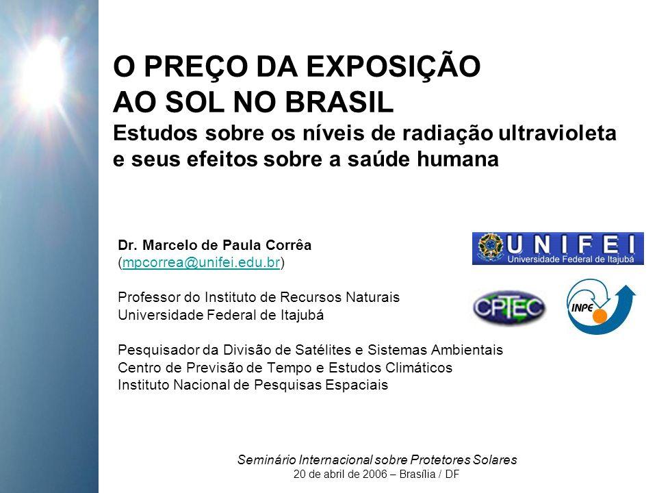 O PREÇO DA EXPOSIÇÃO AO SOL NO BRASIL Estudos sobre os níveis de radiação ultravioleta e seus efeitos sobre a saúde humana Dr.