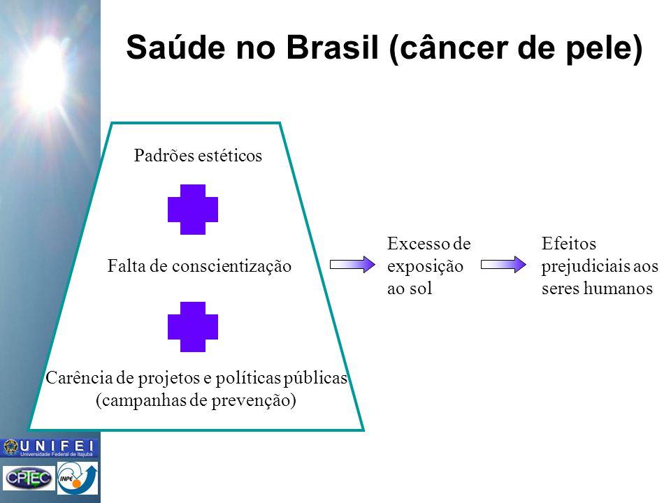 Saúde no Brasil (câncer de pele) Efeitos prejudiciais aos seres humanos Excesso de exposição ao sol Carência de projetos e políticas públicas (campanhas de prevenção) Falta de conscientização Padrões estéticos