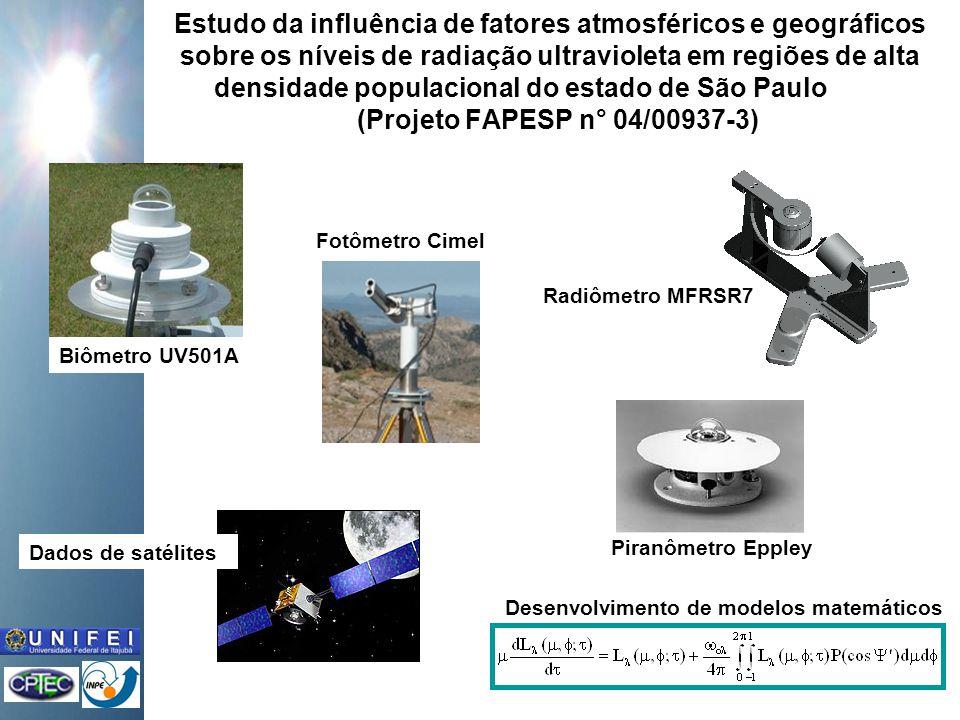 Estudo da influência de fatores atmosféricos e geográficos sobre os níveis de radiação ultravioleta em regiões de alta densidade populacional do estado de São Paulo (Projeto FAPESP n° 04/00937-3) Biômetro UV501A Radiômetro MFRSR7 Piranômetro Eppley Fotômetro Cimel Dados de satélites Desenvolvimento de modelos matemáticos