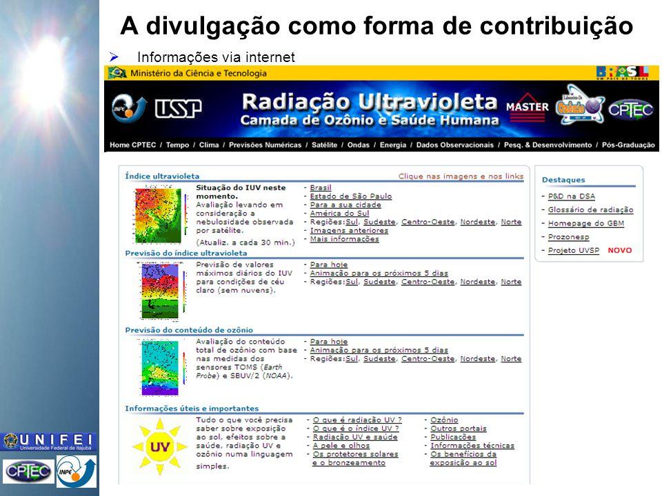 A divulgação como forma de contribuição Informações via internet