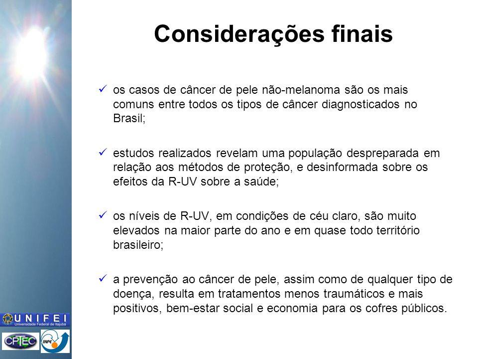 Considerações finais os casos de câncer de pele não-melanoma são os mais comuns entre todos os tipos de câncer diagnosticados no Brasil; estudos realizados revelam uma população despreparada em relação aos métodos de proteção, e desinformada sobre os efeitos da R-UV sobre a saúde; os níveis de R-UV, em condições de céu claro, são muito elevados na maior parte do ano e em quase todo território brasileiro; a prevenção ao câncer de pele, assim como de qualquer tipo de doença, resulta em tratamentos menos traumáticos e mais positivos, bem-estar social e economia para os cofres públicos.