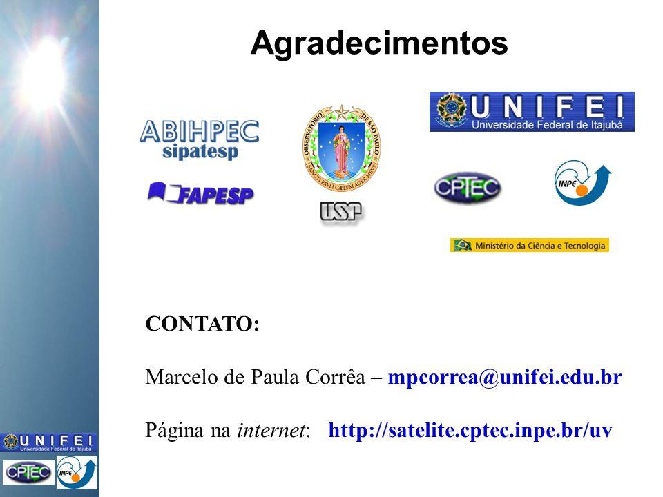 Agradecimentos CONTATO: Marcelo de Paula Corrêa – mpcorrea@unifei.edu.br Página na internet: http://satelite.cptec.inpe.br/uv