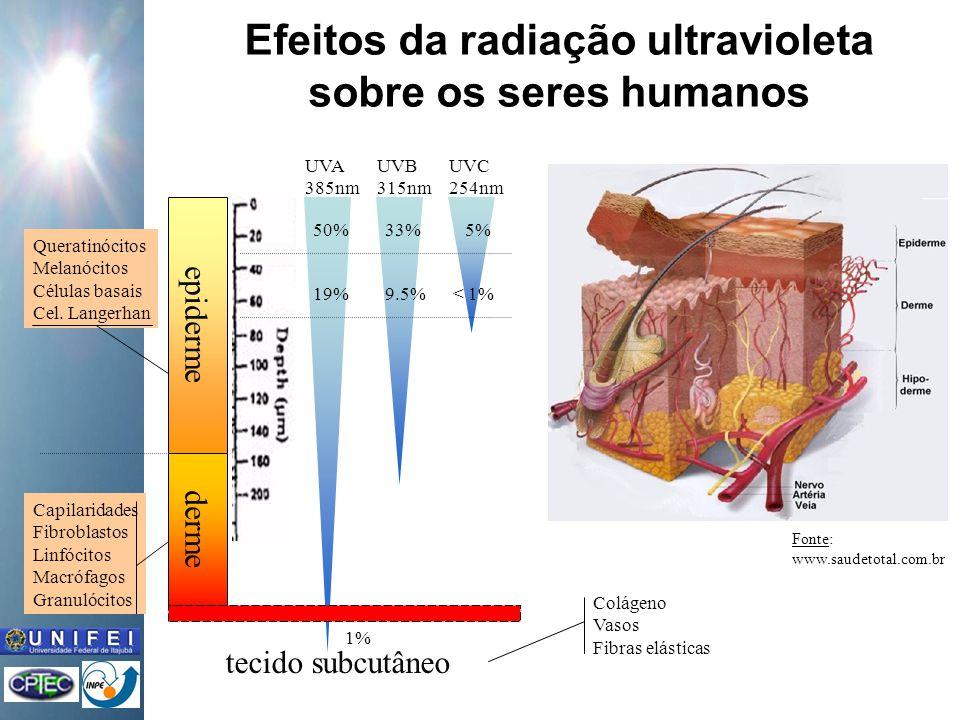 epiderme derme UVA 385nm UVB 315nm UVC 254nm tecido subcutâneo 1% 50%33%5% 19%9.5% < 1% Queratinócitos Melanócitos Células basais Cel.