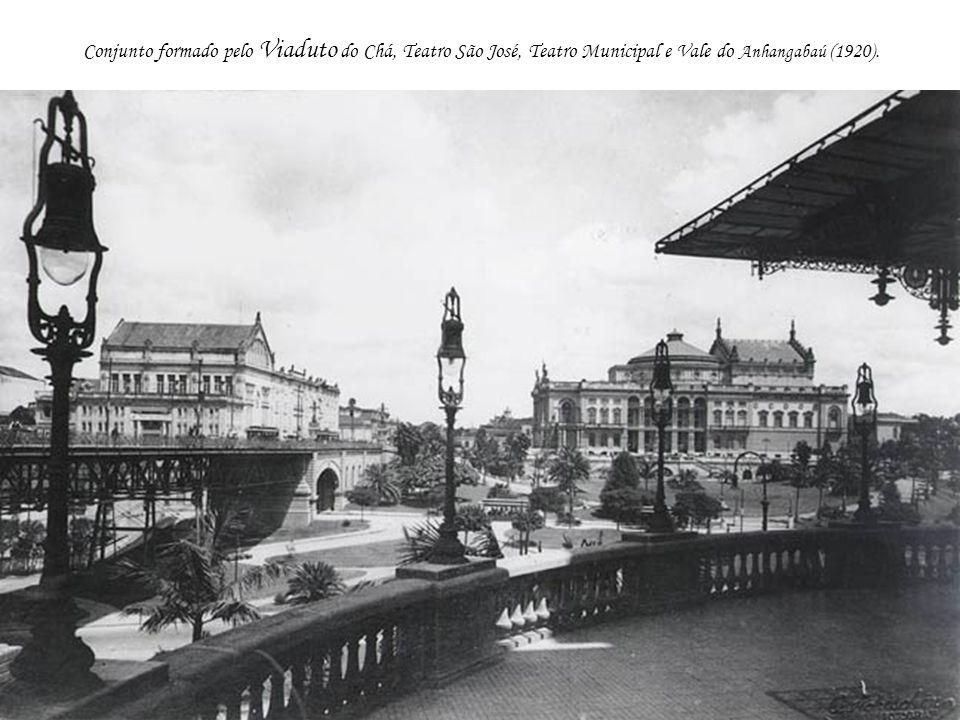 Conjunto formado pelo Viaduto do Chá, Teatro São José, Teatro Municipal e Vale do Anhangabaú (1920).