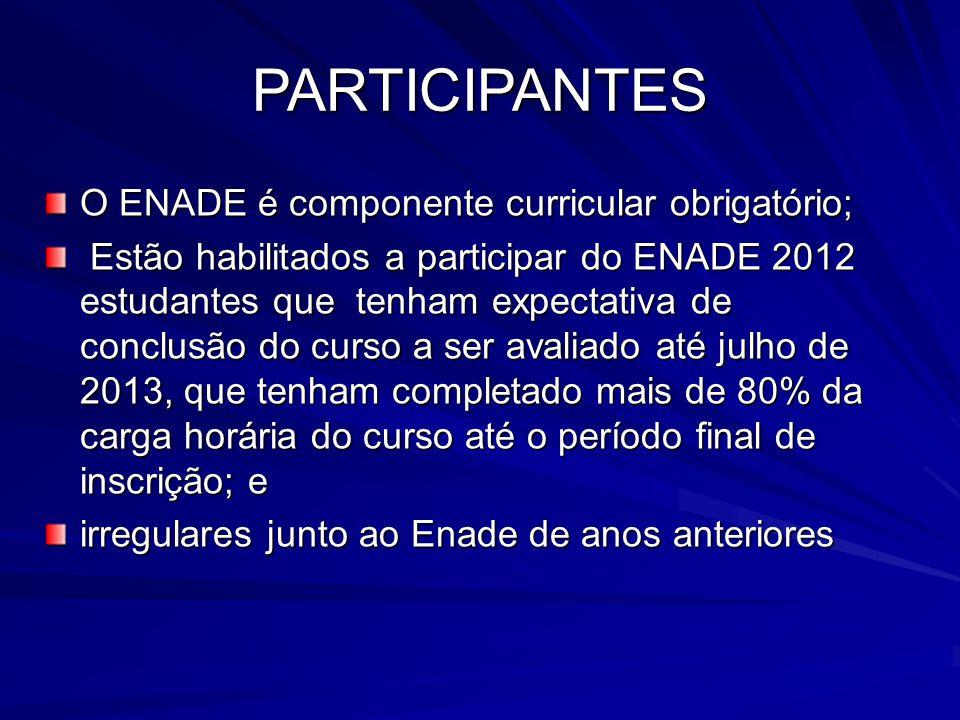 O ENADE é componente curricular obrigatório; Estão habilitados a participar do ENADE 2012 estudantes que tenham expectativa de conclusão do curso a se