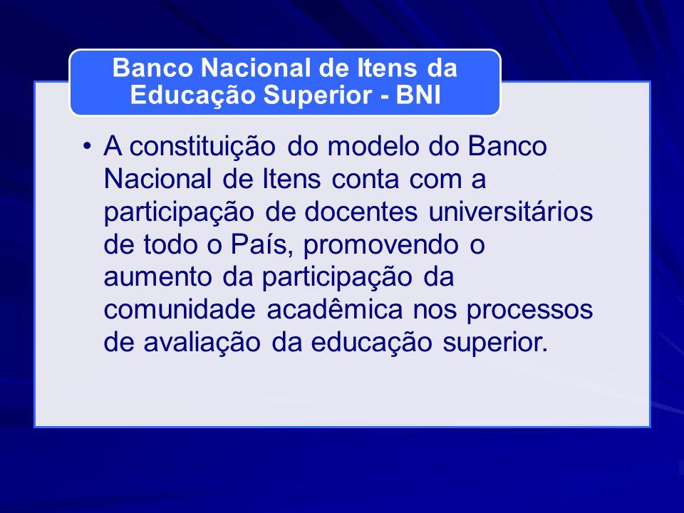 A constituição do modelo do Banco Nacional de Itens conta com a participação de docentes universitários de todo o País, promovendo o aumento da participação da comunidade acadêmica nos processos de avaliação da educação superior.