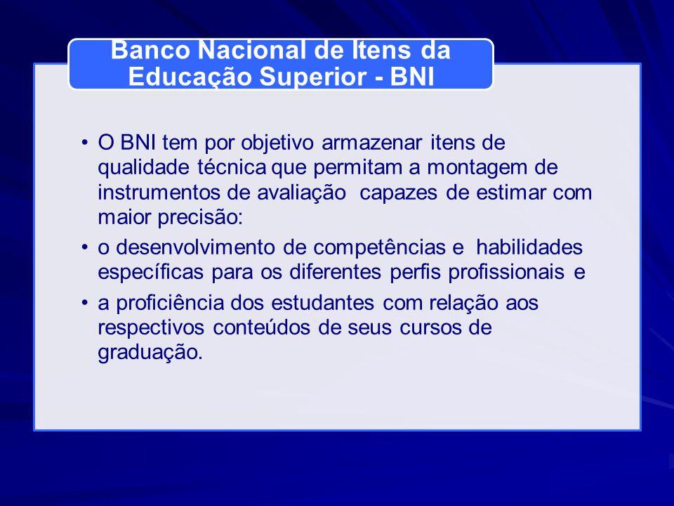 O BNI tem por objetivo armazenar itens de qualidade técnica que permitam a montagem de instrumentos de avaliação capazes de estimar com maior precisão