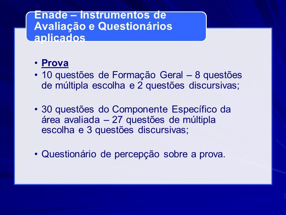 Prova 10 questões de Formação Geral – 8 questões de múltipla escolha e 2 questões discursivas; 30 questões do Componente Específico da área avaliada –