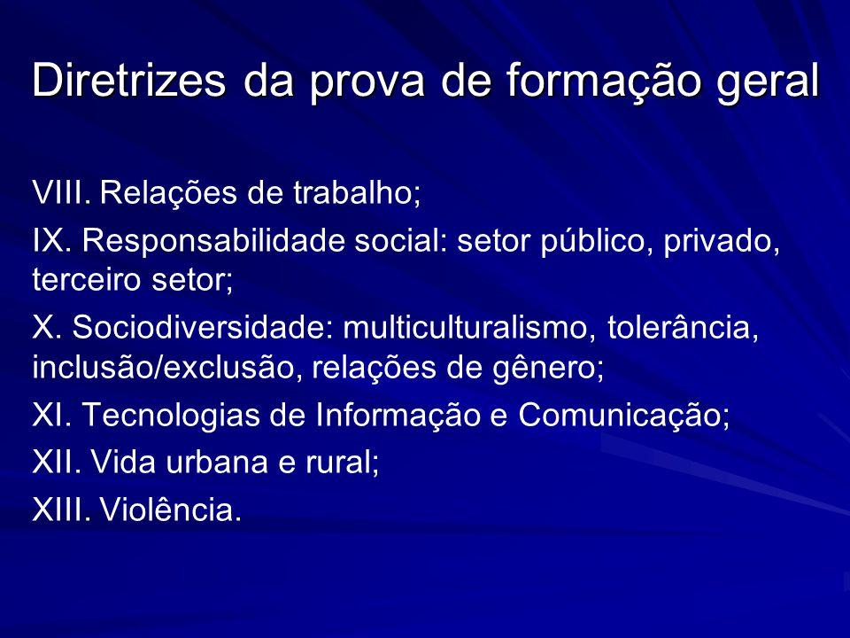 VIII. Relações de trabalho; IX. Responsabilidade social: setor público, privado, terceiro setor; X. Sociodiversidade: multiculturalismo, tolerância, i