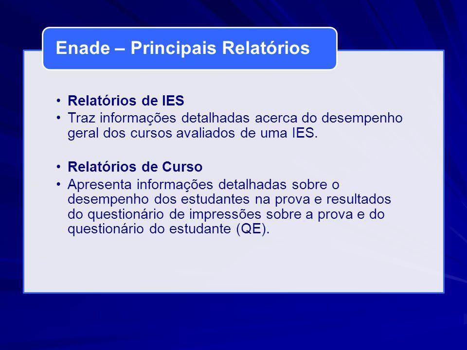 Relatórios de IES Traz informações detalhadas acerca do desempenho geral dos cursos avaliados de uma IES. Relatórios de Curso Apresenta informações de
