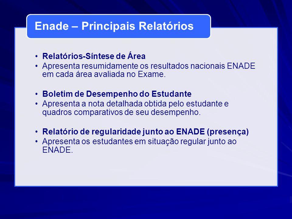 Relatórios-Síntese de Área Apresenta resumidamente os resultados nacionais ENADE em cada área avaliada no Exame. Boletim de Desempenho do Estudante Ap