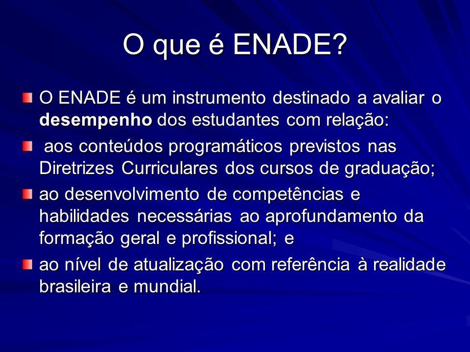 O ENADE é um instrumento destinado a avaliar o desempenho dos estudantes com relação: aos conteúdos programáticos previstos nas Diretrizes Curriculare