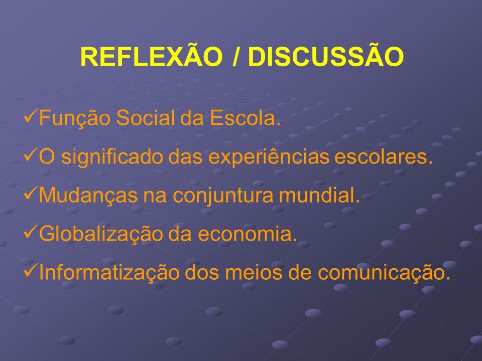 REFLEXÃO / DISCUSSÃO Função Social da Escola.O significado das experiências escolares.